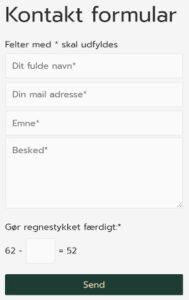 Kontaktformular eksempel